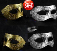 Wholesale Half Face Archaistic Roma Antique Classic Men s Mask Mardi Gras Masquerade Halloween Venetian Costume Party Masks Silver amp Gold