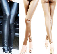 Faux Leather Mid Casual Fashion Women Ladies Girts Casual Sexy Skinny Leather Black Leggings Nine Pants Spring Autumn