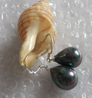 Wholesale Natural AAA mm Tahitian Drop shell pearl earringS925