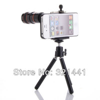 Wholesale 8X Zoom Optical Telescope Camera Lens for iPhone G S with Tripod Stand Case