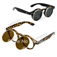 Wholesale 2013 New Vintage Retro Steam punk Men Women s Sunglasses Flip Up Round Glasses