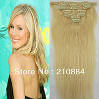 "Hair Extension Yes Clip-In 15"" 18"" 20"" 22"" Brazilian Clip In Virgin hair Remy Clip in Human Hair Extension Color #613 Blonde 7pcs per set Free Shipping"