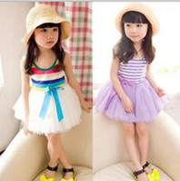 Wholesale Girl Dress Hot Pink Striped Infant Princess Party Dress Layer Chiffon suit for years old girl p l