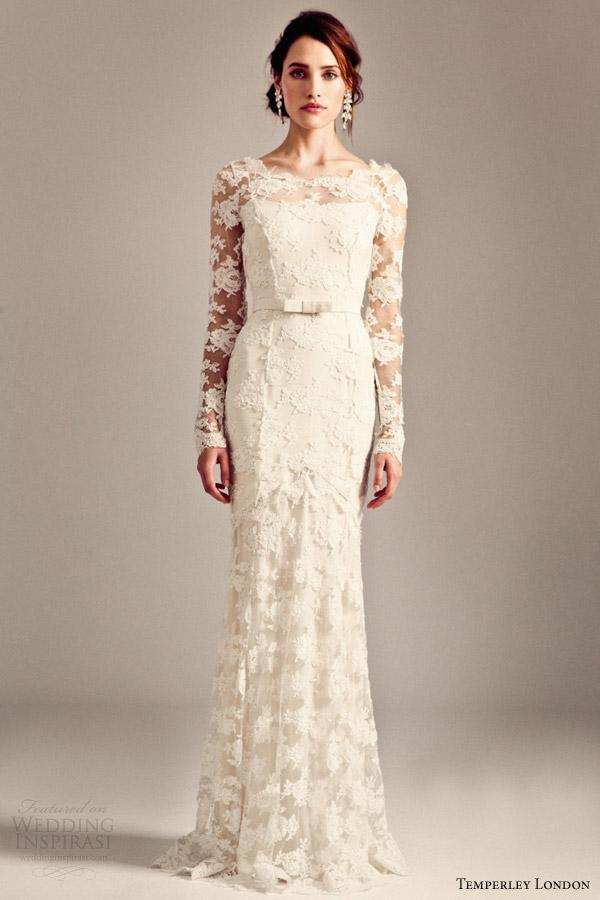 Sheath Wedding Dresses London : Temperley london sheath wedding dresses scalloped lace bridal gowns
