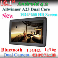 Wholesale 10 Inch Allwinner A23 Tablet PC HD GHZ Bluetooth G G Android Dual Core Dual Camera Capacitive screen tablet pc Newest