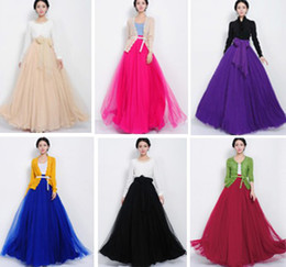 Wholesale 2014 Fashion Women Ladies Elegant Prom Party Wedding Maxi Long Skirts Gauze Expansion Hem High Waist Solid Black Red Beige Purple