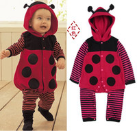 Girl baby body warmers - Polka Dot Ladybug Fleece Baby Rompers Body Warmers Hoodies Romper Retail HOT SALE