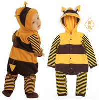 baby boy bee costume - Bees Thicker Baby Rompers Costumes Body Warmers Boys Hoodies bodysuits Drop Ship TOP QUALITY Babywear