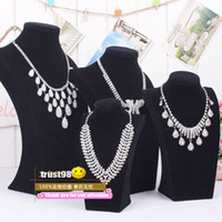 Wholesale Black Velvet Model Necklace Jewelry stand Mannequin Have sizes Necklaces bracelets Pendant Display Diamond Wedding Jewelry Set Holder