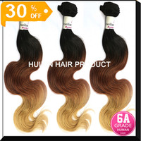 Wholesale 6A Malaysian Peruvian Indian Eurasian Virgin Extension Body wave hair tone Ombre Virgin Remy Hair Lingth blonde color hair A