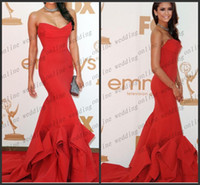 Wholesale 2014 New Emmy Awards Celebrity Dresses Backless Mermaid Sweep Train Taffeta Red Nina Dobrev Evening Prom Party Gowns PM706