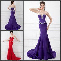 Cheap 2014 Graceful Sweetheart Crystal Peplum Mermaid Sleeveless Sweep Train Prom Gowns Evening Dresses C251