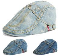 Wholesale Men Hats Button Design Denim Beret Cap Fashion Hat Women Cotton Hats Adjustable Hat Around Fashion Caps