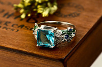 Wholesale 925 Sterling Silver Female Jewelry Square Gemstone Inlaid Shape Silver Ring GNJ0251