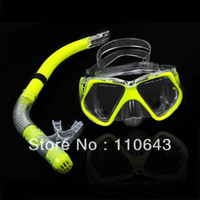 Cheap Wholesale - Promotion New Fluorescence Yellow Scuba Diving Equipment Dive Mask + Dry Snorkel Set Scuba Snorkeling Gear Kit TK0868