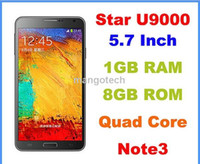 5.7 Android 1G Star Ulefone N9002 Note 3 5.7 Inch MTK6582 Quad Core Android 4.2 IPS 1280X720 1GB 8GB Stylus Pen Dual Camera 2 Sim Mobile Phone
