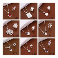 Wholesale Mixed Orders Top quality silver plated Zircon Ring Necklace Fashion Jewelry Set wedding gift for woman set