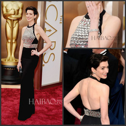 Wholesale Anne Hathaway Crystal Bead Eye Catching Red Carpet Celebrity Dresses Backless Luxury Evening Gowns Elegant Prom Gowns Chiffon