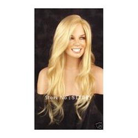 E-069 Blonde Wavy Free Shipping Heat Resistant Best Seller Blonde Long Wavy Lady's Fashion Sexy Party Cosplay Synthetic Hair Wig Wigs