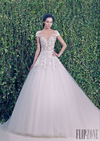 A-Line Reference Images V-Neck Elegant 2014 Deep V-neck Short Sleeves Long Bridal Dress Zuhair Murad Tulle with Applique A-line Sweep Train Wedding Dresses Gowns Hot Sale