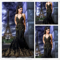 Wholesale Hot selling gaby saliba Sexy Backless black amp Gold Mermaid Evening Dresses Prom dresses Emroidery GS003