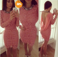 Wholesale On Sale Cocktail Dress Scoop Mini Short Backless Sexy Sheath Long Sleeves Pink Lace Girls Formal Gown Prom Party Dresses Cheap