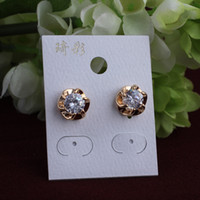 Wholesale 14K Real Gold Plated zircon Earring Jewelry Made with Genuine Austrian Crystal ER044