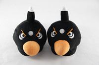 Wholesale Cute Birds Pattern Angry Face Plush Slippers Adults Kids