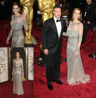 Wholesale The th Oscars Academy Awards Red Carpet Angelina Jolie Sheer Evening Dresses Sequins Bateau Neck Long Sleeves Formal Celebrity Gowns