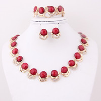 Wholesale 2014 Hot Sale fashion New Arrival red Costume Women wedding Golden k Gold African Jewelry Set
