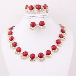 Acheter en ligne Mariage met en vente-2014 Les femmes rouges de costume de nouvelle arrivée de mode d'expédition libre de vente ouvrant les femmes d'or d'or 18k d'or africain fixent