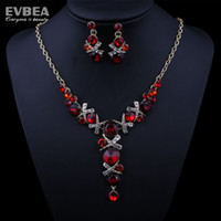 Wholesale Gold Plated Pink Color Crystal Jewelry Sets For Women Austrian Fashion Jewelry Wedding Accessories Evbea