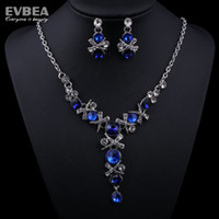 Wholesale Royal Blue Crystal Alloy Jewelry Sets Bridal Jewelry Sets Wedding Accessories Evbea