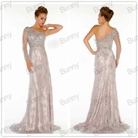 Wholesale 2014 Gorgeous custom made sheath mother of the bride dresses one shoulder sequins beaded backless one long sleeve evening prom gowns D