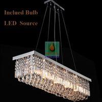 Modern ceiling chandeliers - Modern Rectangular Crystal Chandelier Dining Room Length Multiple Size LED Cyrstal Pendant Light Ceiling Lamp Chandiliers Lighting