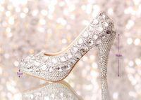 Wedding Heels High Heel 2014 wedding shoes women high heels crystal Fashion Bridal Dress shoes woman platforms silver rhinestone Party Prom pumps