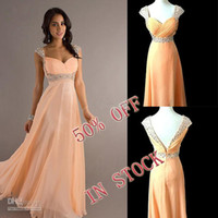 Reference Images Same as Image Spaghetti In Stock wholesale High quality Cheap Price Long Chiffon Prom Evening Bridesmaid Dresses with beaded(size 4,8,12)Free shipping