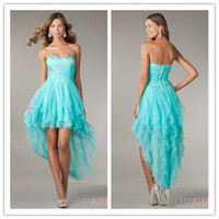 Reference Images Sweetheart Tulle QM-2014 Newest Design Pretty Girls High Low Prom Dresses Aqua Sweetheart Crystal Beads Puffy Summer Cheap On Sale Formal Party Gowns