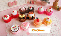 Wholesale Cute Cream cake styles contact lenses case amp box lens Companion box FreeShipping
