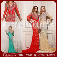 Wholesale 2014 Most Shining Evening Dresses with Heavy Luxury Beads Crystal Sexy Deep V Neck and Glamorous Sheer Long Sleeve Mermaid Formal Prom Gowns