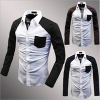 Men Cotton Polo 2014 new men's slim cotton split joint color long sleeve T-shirt 3 color 7511