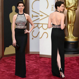 Wholesale Anne Hathaway Oscars th Academy Awards Sheath Floor Length Black Chiffon Silver Beadings Halter Backless Celebrity Dresses