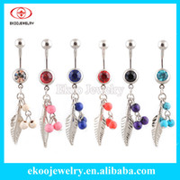 Wholesale 316L Surgical Steel Feather with Colorful Semi Precious Stone Beads Navel Ring
