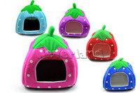 Wholesale Neverland Size Soft Strawberry Pet Dog Cat Bed House Kennel Doggy Warm Cushion Basket