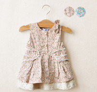 Wholesale foreign trade boutique children s clothing small fresh retro little girls lace bow flower dress