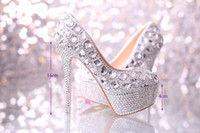 Wedding Heels High Heel 2014 wedding shoes women high heels crystal Fashion Bridal Dress shoes woman platforms silver rhinestone Party Prom pumps