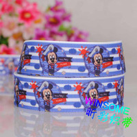 Wholesale 10yards quot mm Blue zebra mouse printed ribbon package cartoon DIY package grosgrain ribbon