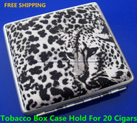 Square   Free Shipping New Leopard Pattern Pocket Leather Cigarette 20pcs Tobacco Case Box Holder