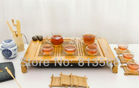 Glass   High quality bamboo tea board + glass tea set + porcelain caddy, exquisite bamboo tea tray, new style household tea sets