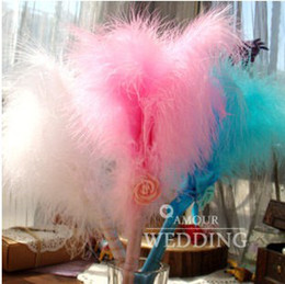Wholesale Beautiful Blue Pink White Color Feather Wedding Pen Sets Personalized Wedding Sign Pen Sets Wedding Favors a